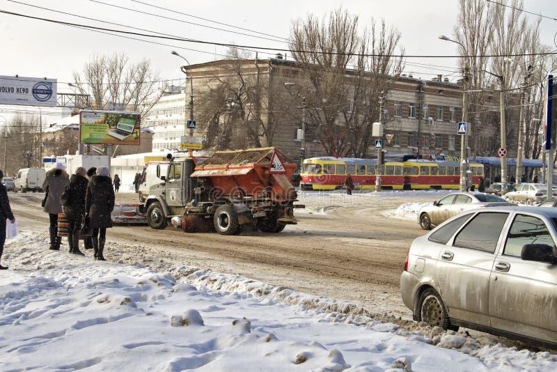 Дороги зимы Волгограда стоковая фотография