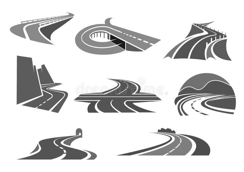 Дороги и изолированные шоссе значки вектора бесплатная иллюстрация