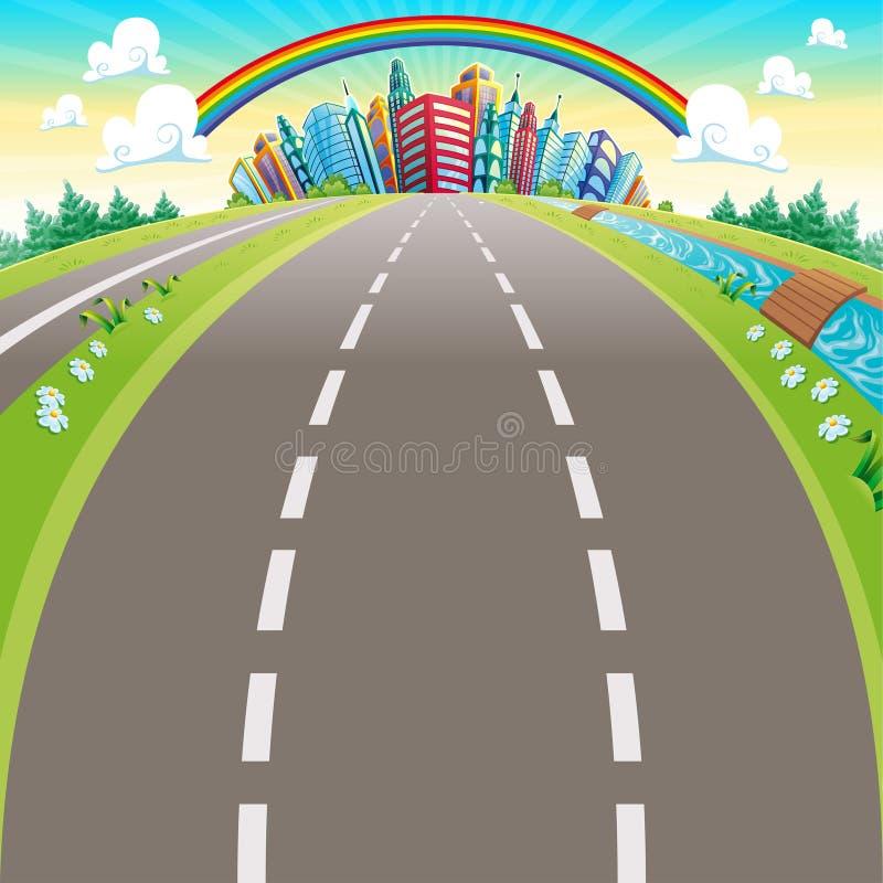 Дороги к городу. бесплатная иллюстрация