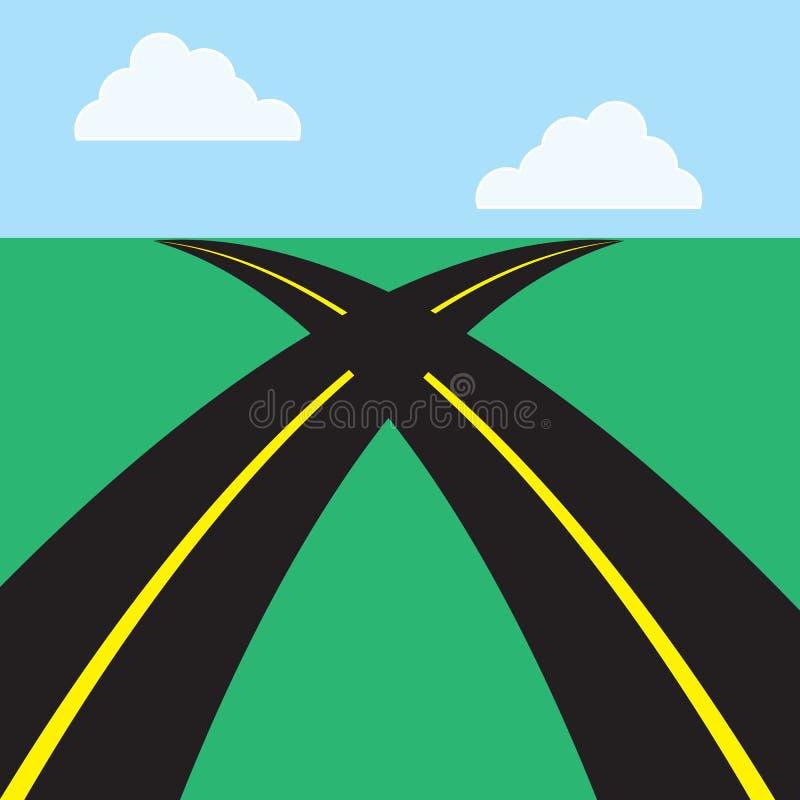 Дороги пересекая иллюстрация вектора