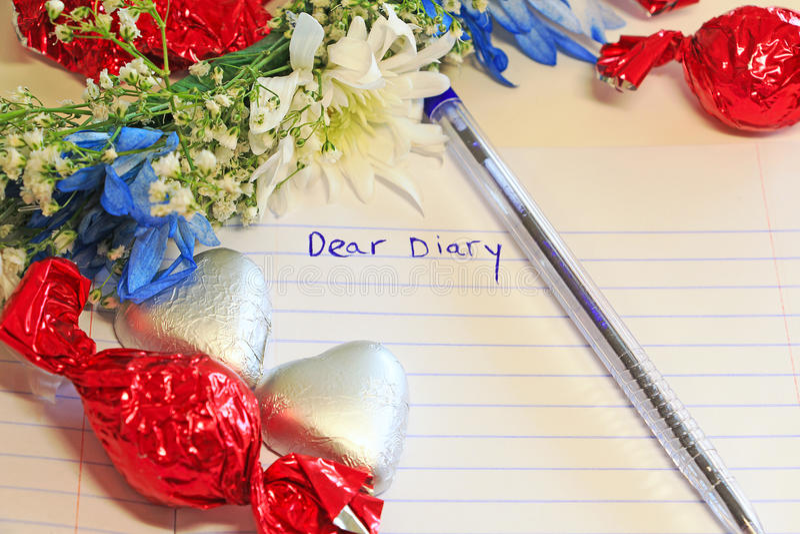 Дорогой дневник написанный в книге стоковые изображения rf