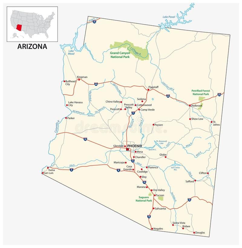 Дорожная карта американского штата США Аризоны иллюстрация вектора