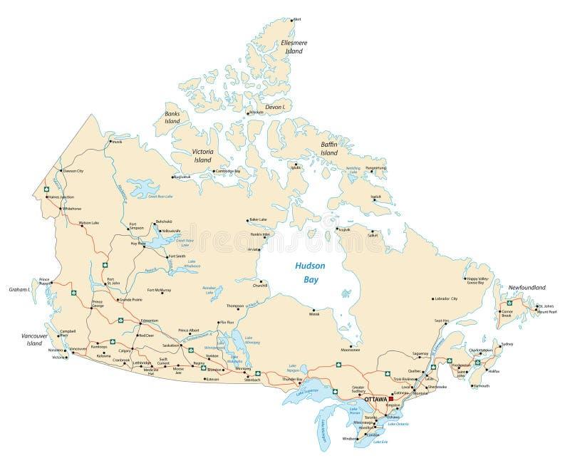 Дорожная карта Канады бесплатная иллюстрация