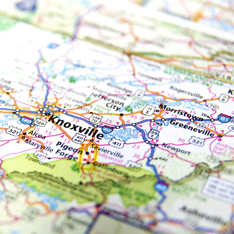 Дорожная карта Ноксвилла Теннесси стоковая фотография