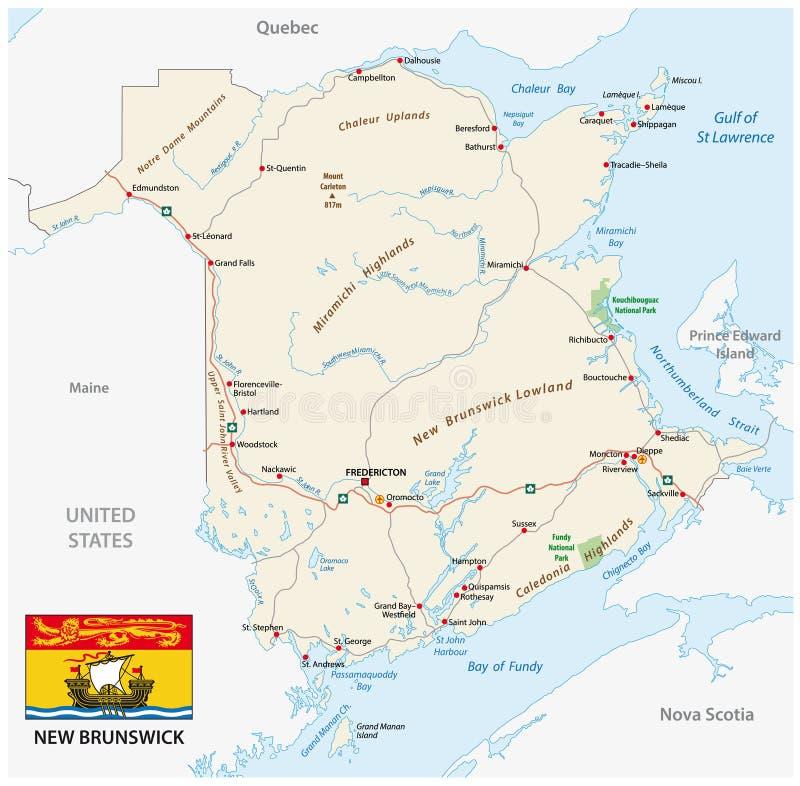 Дорожная карта с флагом провинции Ньюа-Брансуик Канады атлантической иллюстрация штока