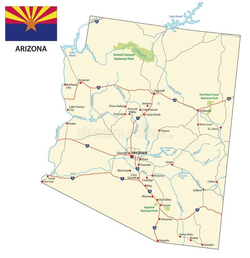 Дорожная карта штата США Аризоны с флагом бесплатная иллюстрация