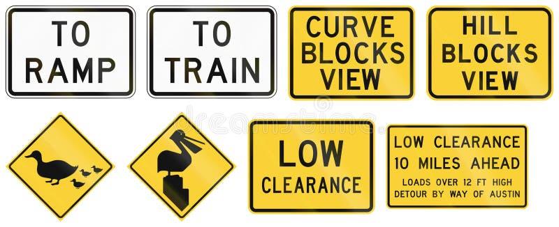 Дорожные знаки используемые в штате США Техаса иллюстрация вектора