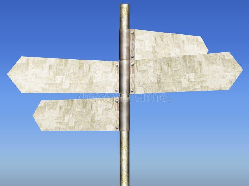 Дорожные знаки оцинкованной стали GI 4-панели Мульти-дирекционные иллюстрация вектора