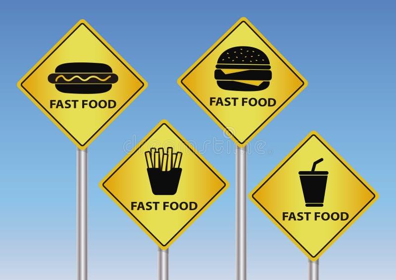 Дорожные знаки фаст-фуда иллюстрация вектора