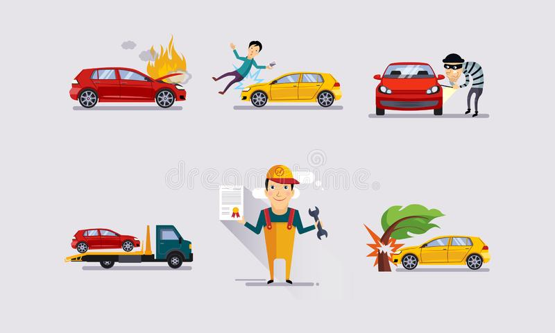 Дорожные происшествия устанавливают, страхование автокатастрофы и события застрахованного риска vector иллюстрация бесплатная иллюстрация