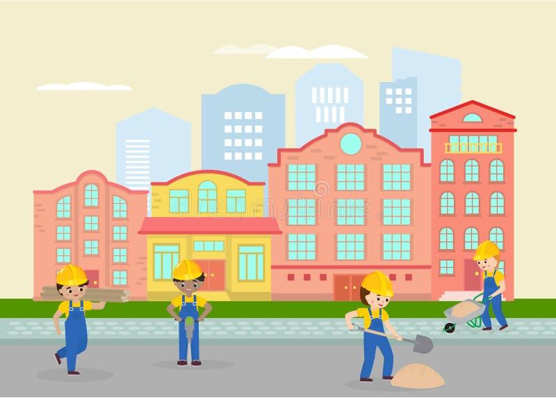 Дорожные работы в городке, иллюстрации вектора улицы Работы, работники в равномерных и желтых шлемах работая с песком и иллюстрация вектора