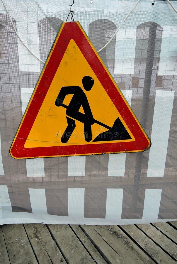 Дорожные работы подписывают для строительств в улице города стоковые изображения rf