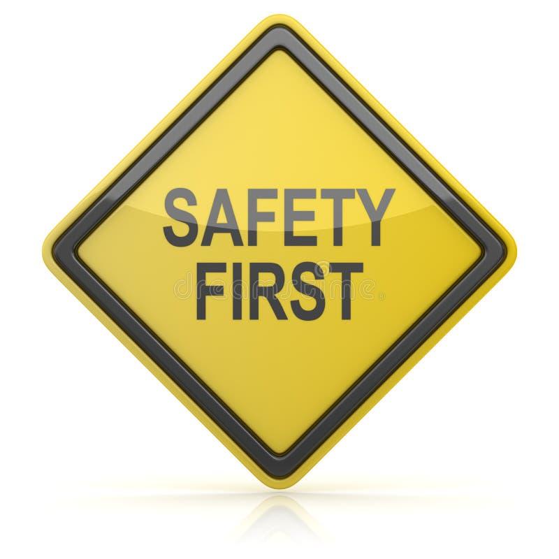 Дорожный знак - безопасность прежде всего бесплатная иллюстрация