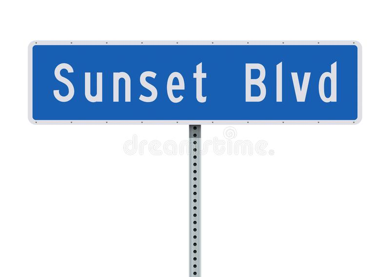Дорожный знак бульвара захода солнца иллюстрация штока