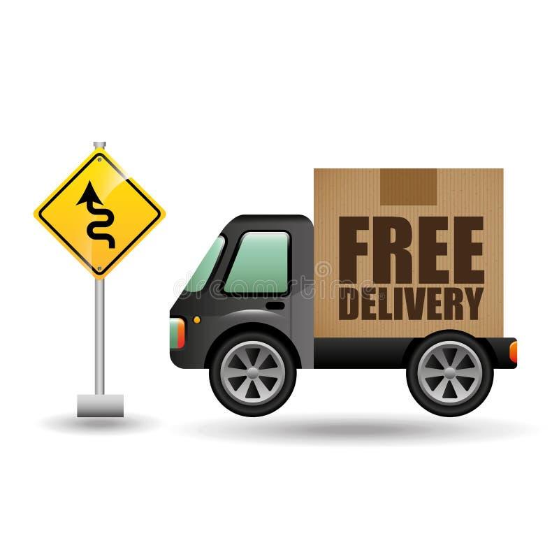 Дорожный знак движения тележки бесплатной доставки бесплатная иллюстрация