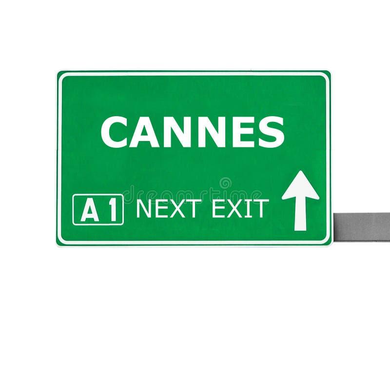 Дорожный знак КАНН изолированный на белизне стоковые фотографии rf
