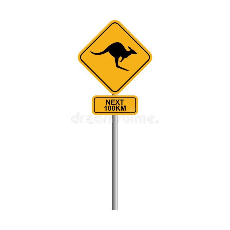 Дорожный знак кенгуру с предпосылкой 2 голубого неба и облака бесплатная иллюстрация