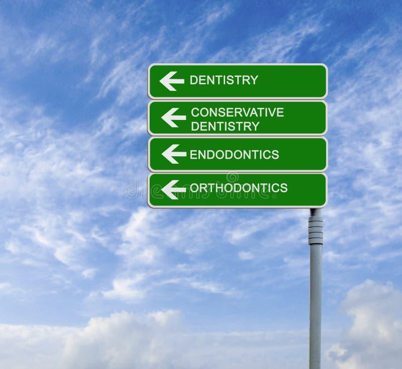 Дорожный знак к зубоврачеванию стоковое фото rf