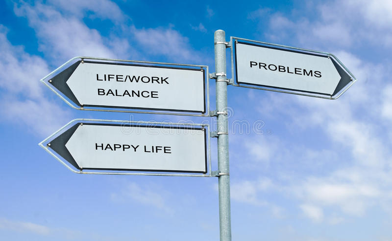 Дорожный знак направления с жизнью слов/балансом работы, счастливой жизнью, a стоковое фото rf