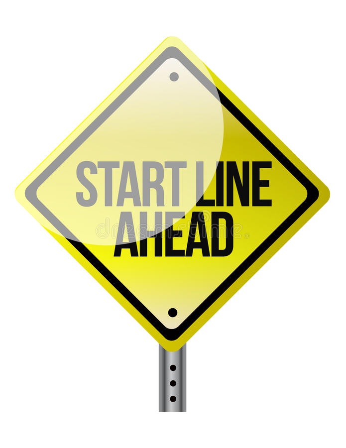 Дорожный знак объявляя линию старта приходя вверх. бесплатная иллюстрация