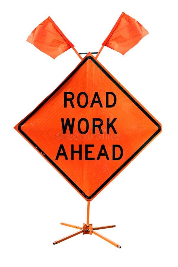 Дорожный знак дорожной работы вперед - американский изолированный на белом backgroun стоковые изображения