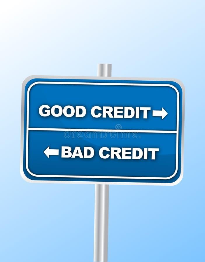 дорожный знак плохого кредита хороший против иллюстрация штока