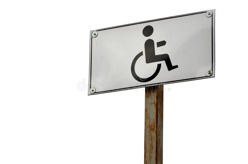 Дорожный знак показывая скрещивание дороги для люди с ограниченными возможностями Белый дорожный знак с изображением человека сид стоковое изображение rf