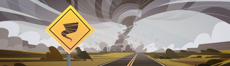 Дорожный знак предупреждая о торнадо, свирли ветра сельской местности урагана Twister разрушает концепцию стихийного бедствия пол иллюстрация вектора