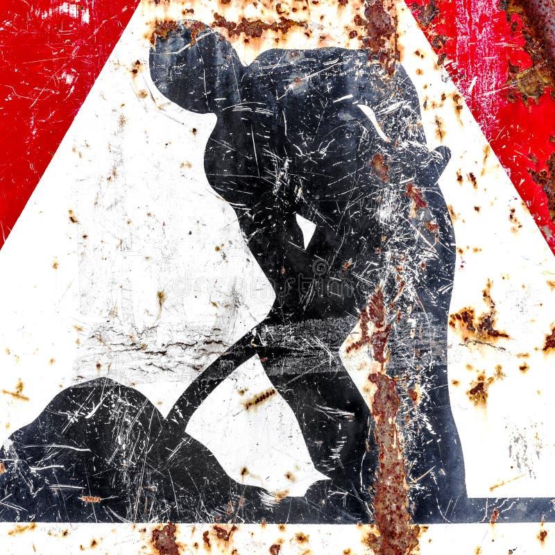 Дорожный знак работы в процессе стоковые изображения