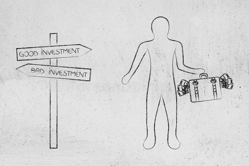 Дорожный знак с направлениями хорошего и плохого вклада и standi человека иллюстрация штока