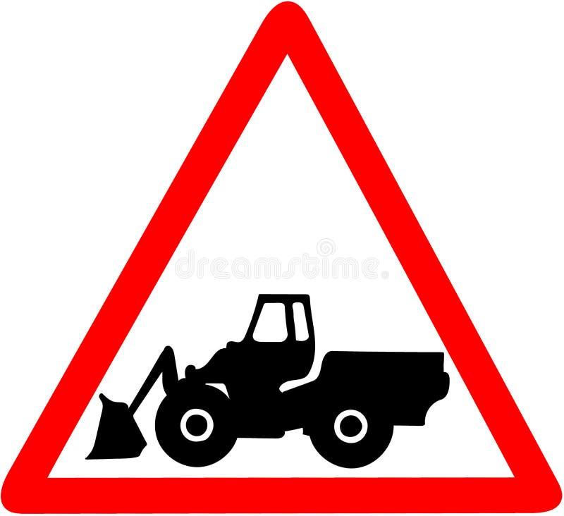Дорожный знак тяжелого промышленного предосторежения машины предупреждающего триангулярный красный изолированный на белой предпос бесплатная иллюстрация