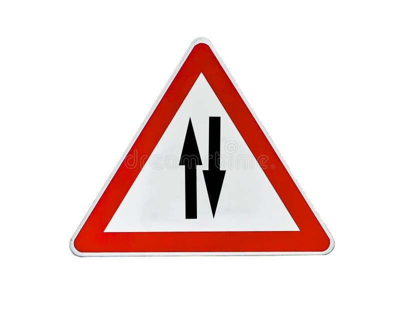 Дорожный знак, знак уличного движения треугольника для двухстороннего стоковое фото rf