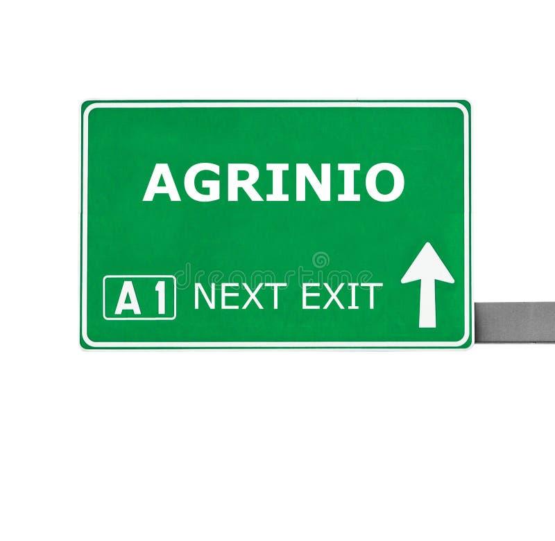 Дорожный знак AGRINIO изолированный на белизне стоковые изображения