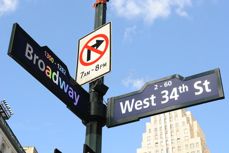 дорожный знак broadway стоковое фото rf