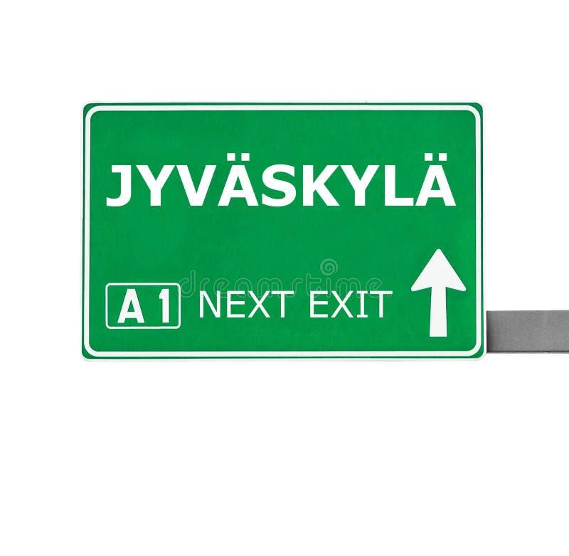 Дорожный знак JYVASKYLA изолированный на белизне стоковые изображения rf