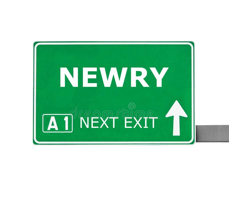 Дорожный знак NEWRY изолированный на белизне стоковое изображение