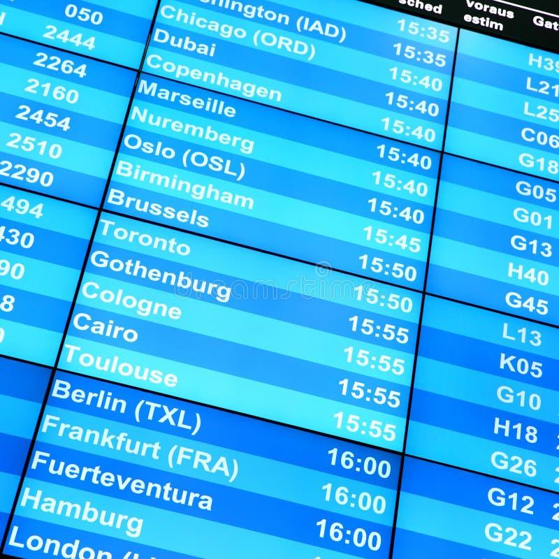 Доска данным по полета стоковая фотография
