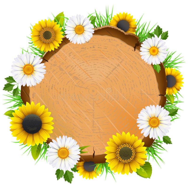 Доска вектора деревянная с цветками иллюстрация вектора