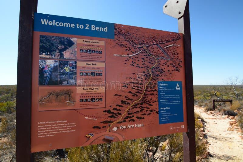 Доска данным по посетителей загиба z Национальный парк Kalbarri Западное Австралия australites стоковые фотографии rf