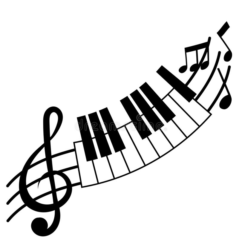 Доска дискантового ключа и рояля иллюстрация вектора