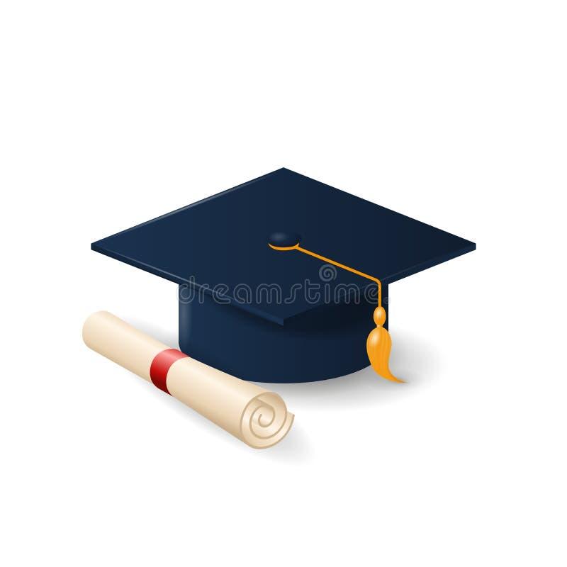 Доска крышки или миномета градации и свернутый перечень диплома бесплатная иллюстрация