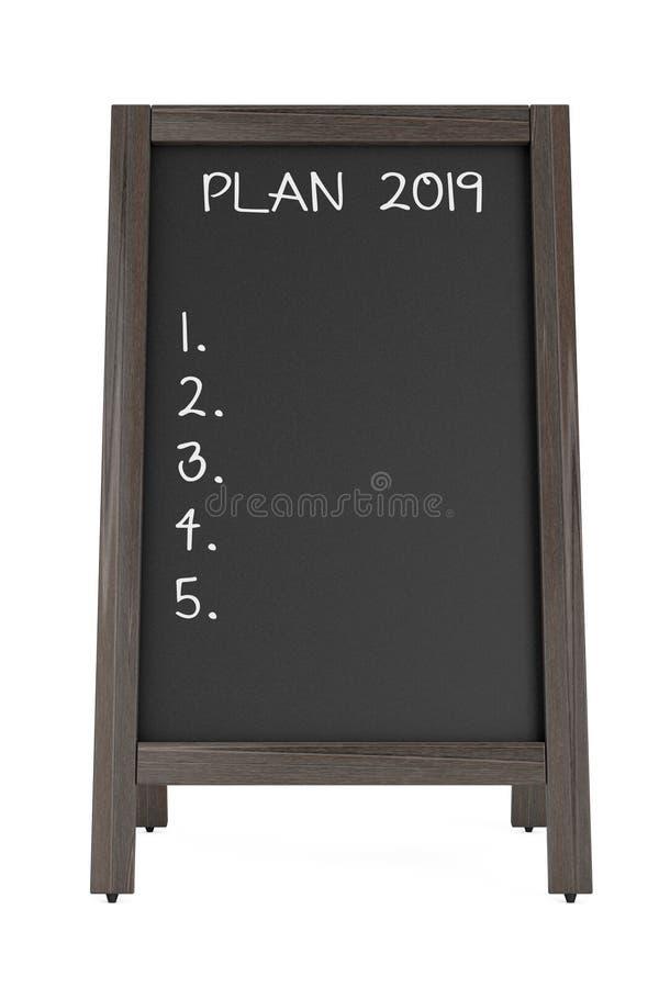 Доска мела меню с планом 2019 фразы перевод 3d иллюстрация вектора
