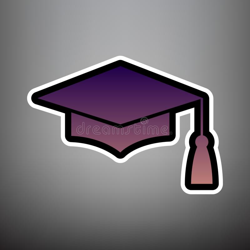 Доска миномета или крышка градации, символ образования вектор лилово иллюстрация штока