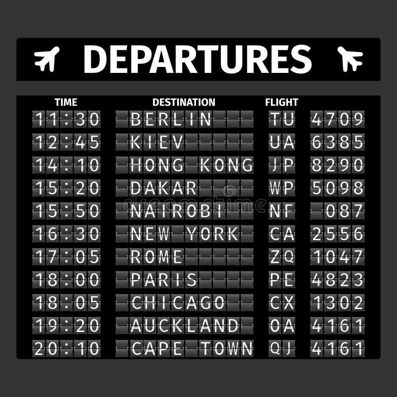 Доска отклонения авиапорта иллюстрация вектора