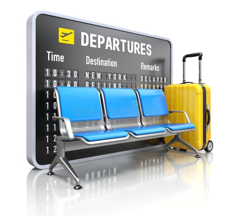 Доска отклонения с посадочными местами авиапорта иллюстрация штока