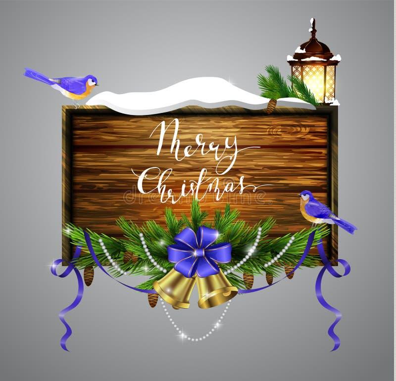 Доска рождества вектора деревянная бесплатная иллюстрация
