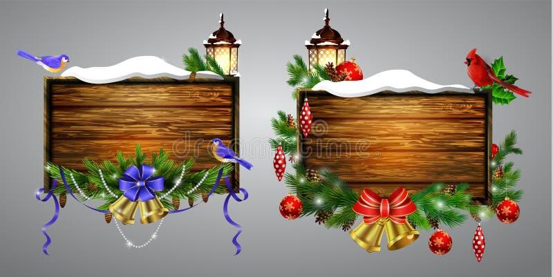 Доска рождества вектора деревянная иллюстрация штока