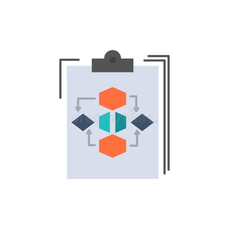 Доска сзажимом для бумаги, дело, диаграмма, подача, процесс, работа, значок цвета потока операций плоский Шаблон знамени значка в бесплатная иллюстрация