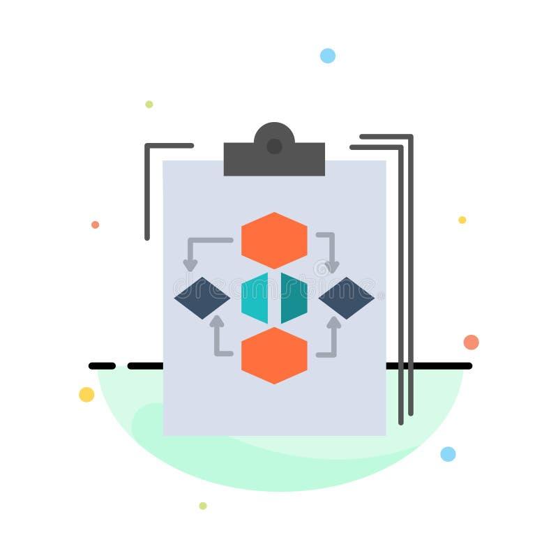 Доска сзажимом для бумаги, дело, диаграмма, подача, процесс, работа, шаблон значка цвета конспекта потока операций плоский иллюстрация вектора