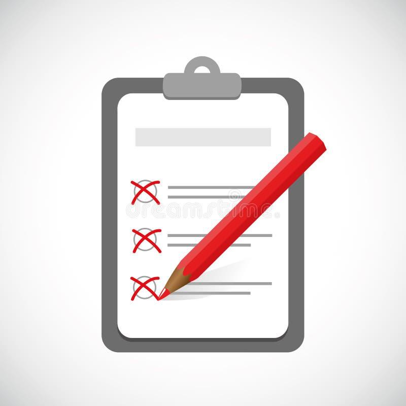 Доска сзажимом для бумаги и контрольный списоок с контрольными пометками и красным дизайном дела ручки иллюстрация вектора